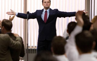 """This film image released by Paramount Pictures shows Leonardo DiCaprio as Jordan Belfort in a scene from """"The Wolf of Wall Street."""" (AP Photo/Paramount Pictures and Red Granite Pictures, Mary Cybulski)"""